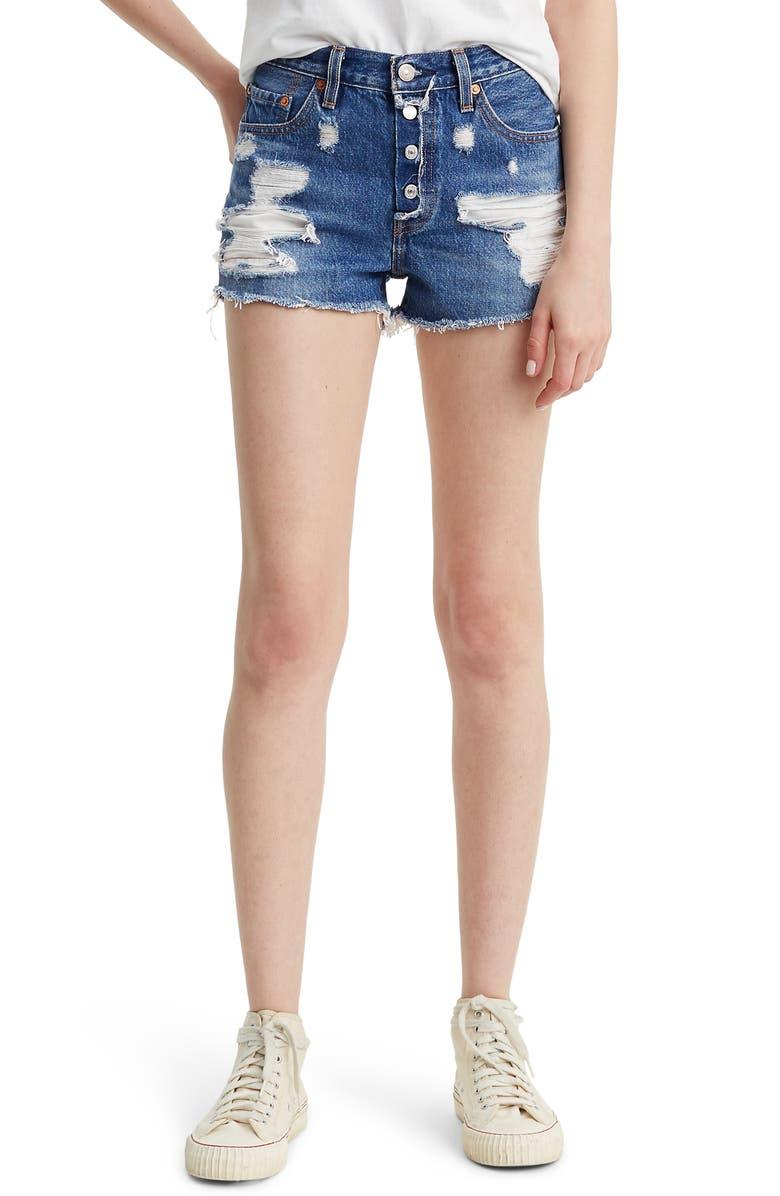 LEVI'S<SUP>®</SUP> 501<sup>®</sup> Ripped High Waist Cutoff Denim Shorts, Main, color, MID VIEW