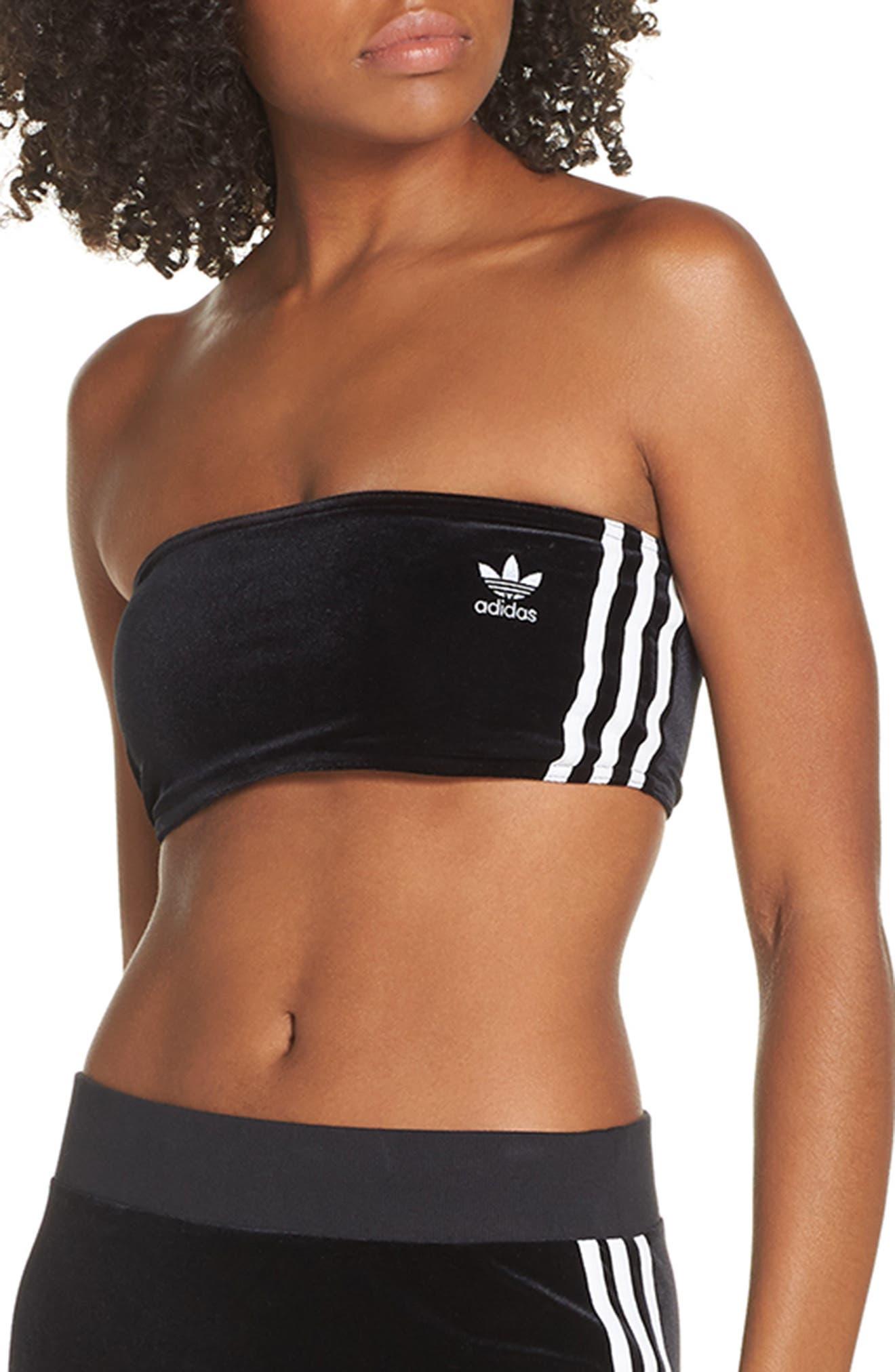 Adidas Originals 3-Stripes Strapless Bra, Black