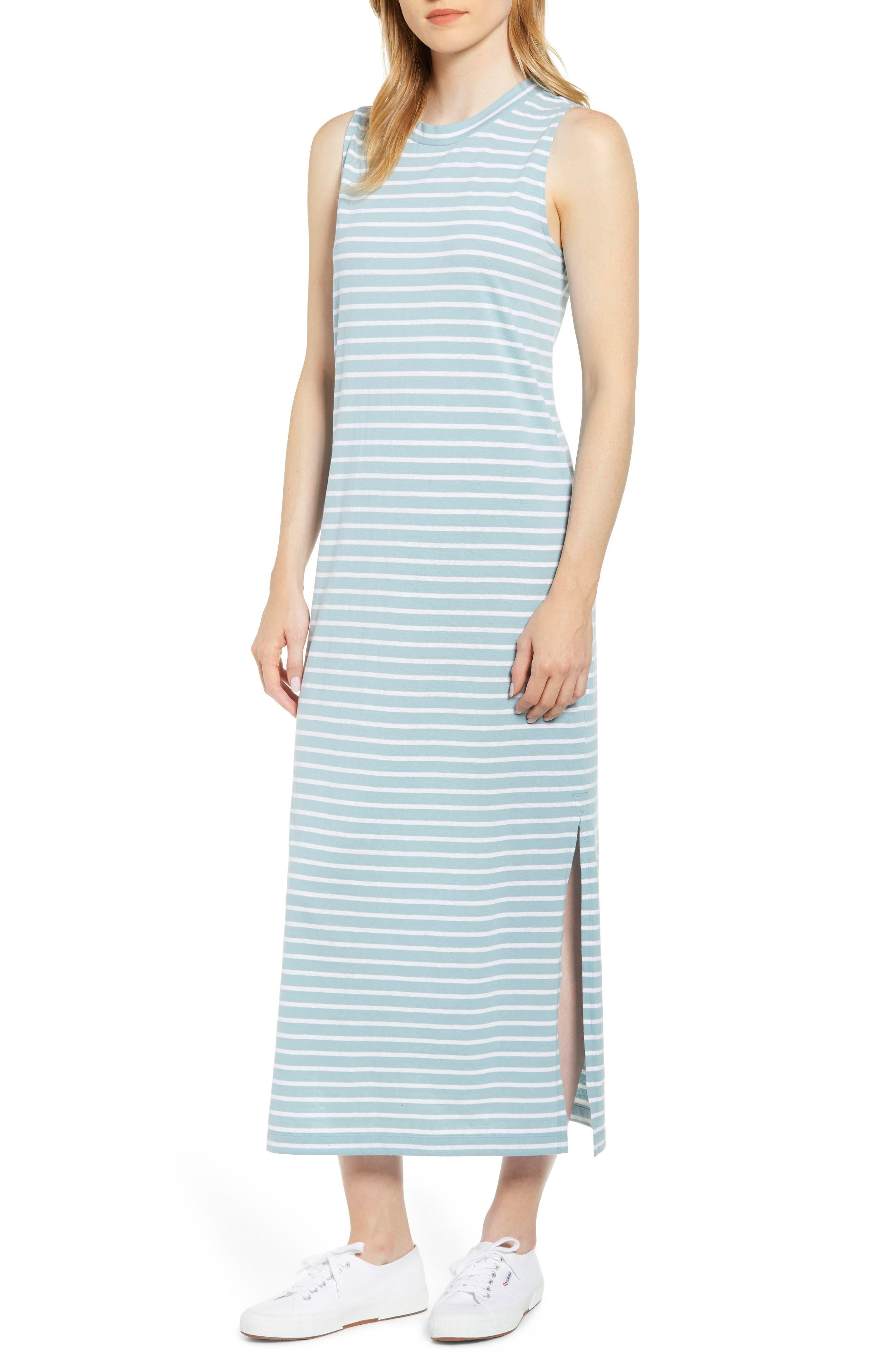 Lou & Grey Ellie Stripe Softserve Midi Dress, Blue