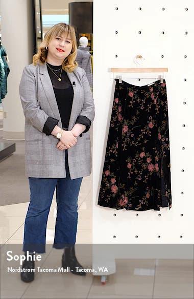 Slit Floral Velvet Midi Skirt, sales video thumbnail
