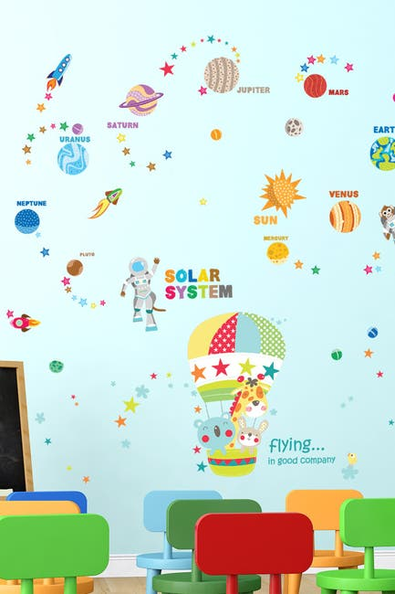 Image of WalPlus Best Friend Hot Air Balloon Ride & Educational Solar System Wall Sticker Set