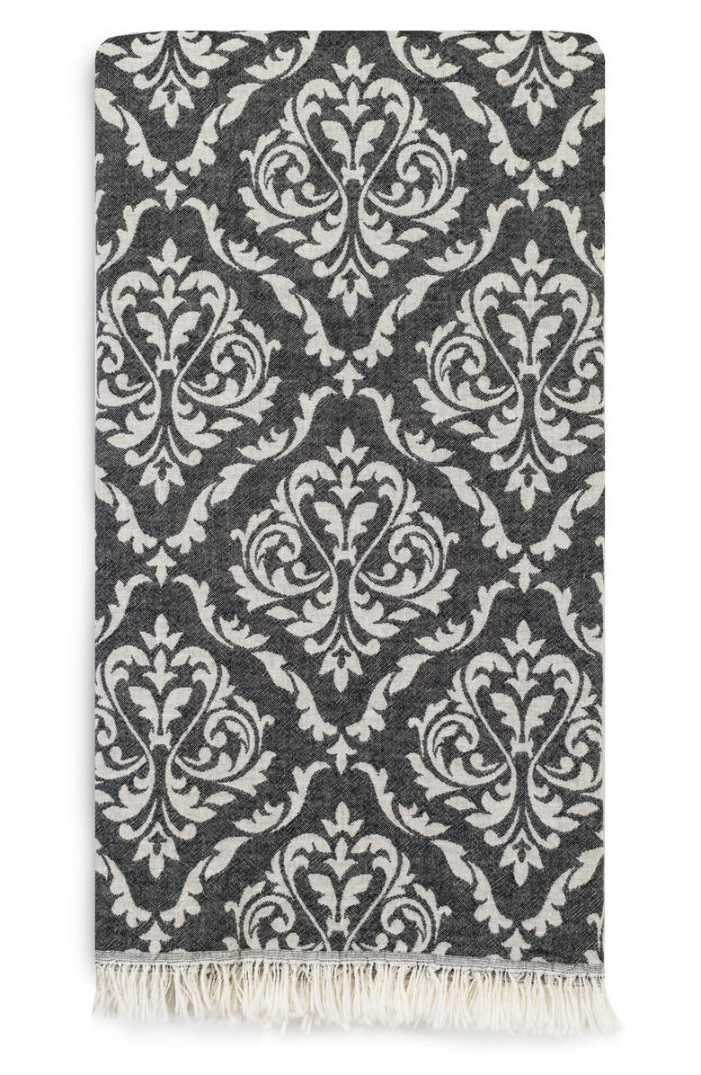 LINUM HOME TEXTILES Damask Delight Turkish Pestemal Towel, Main, color, BLACK
