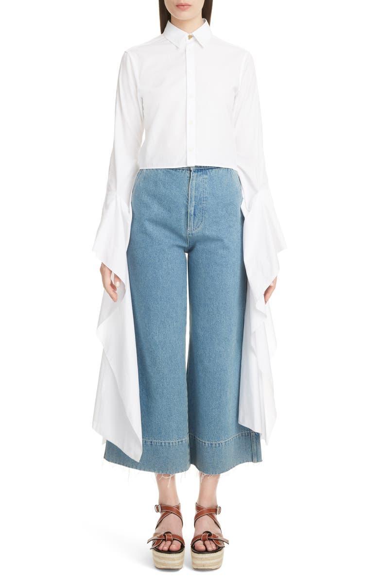 LOEWE Exaggerated Sleeve Crop Poplin Shirt, Main, color, 100