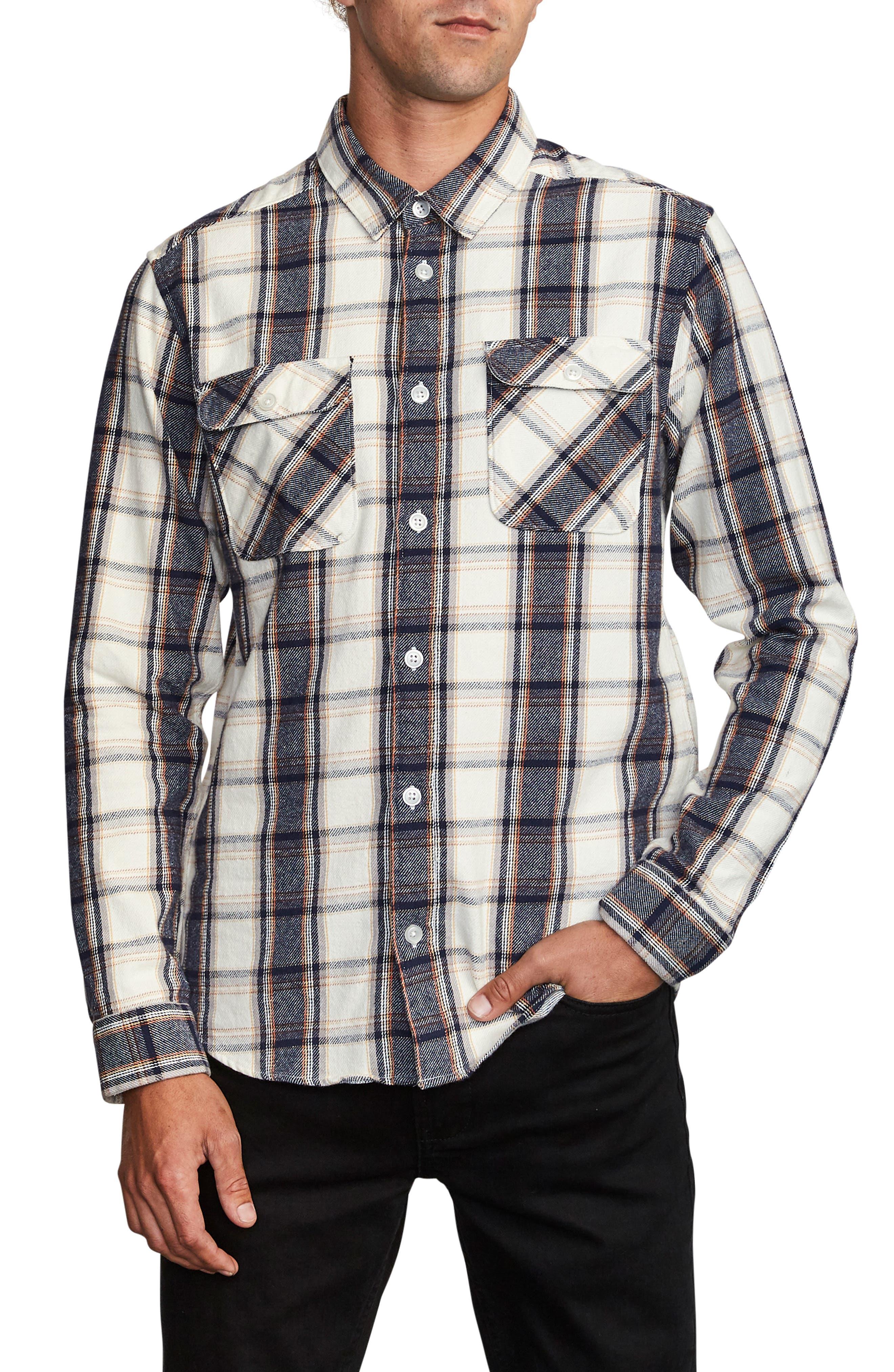 1950s Mens Shirts | Retro Bowling Shirts, Vintage Hawaiian Shirts Mens Rvca ThatLl Work Slim Fit Plaid Flannel Shirt Size X-Large - Grey $60.00 AT vintagedancer.com