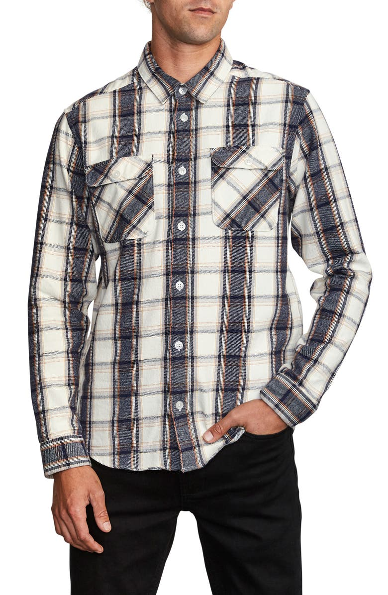 RVCA That'll Work Regular Fit Plaid Flannel Shirt, Main, color, 020