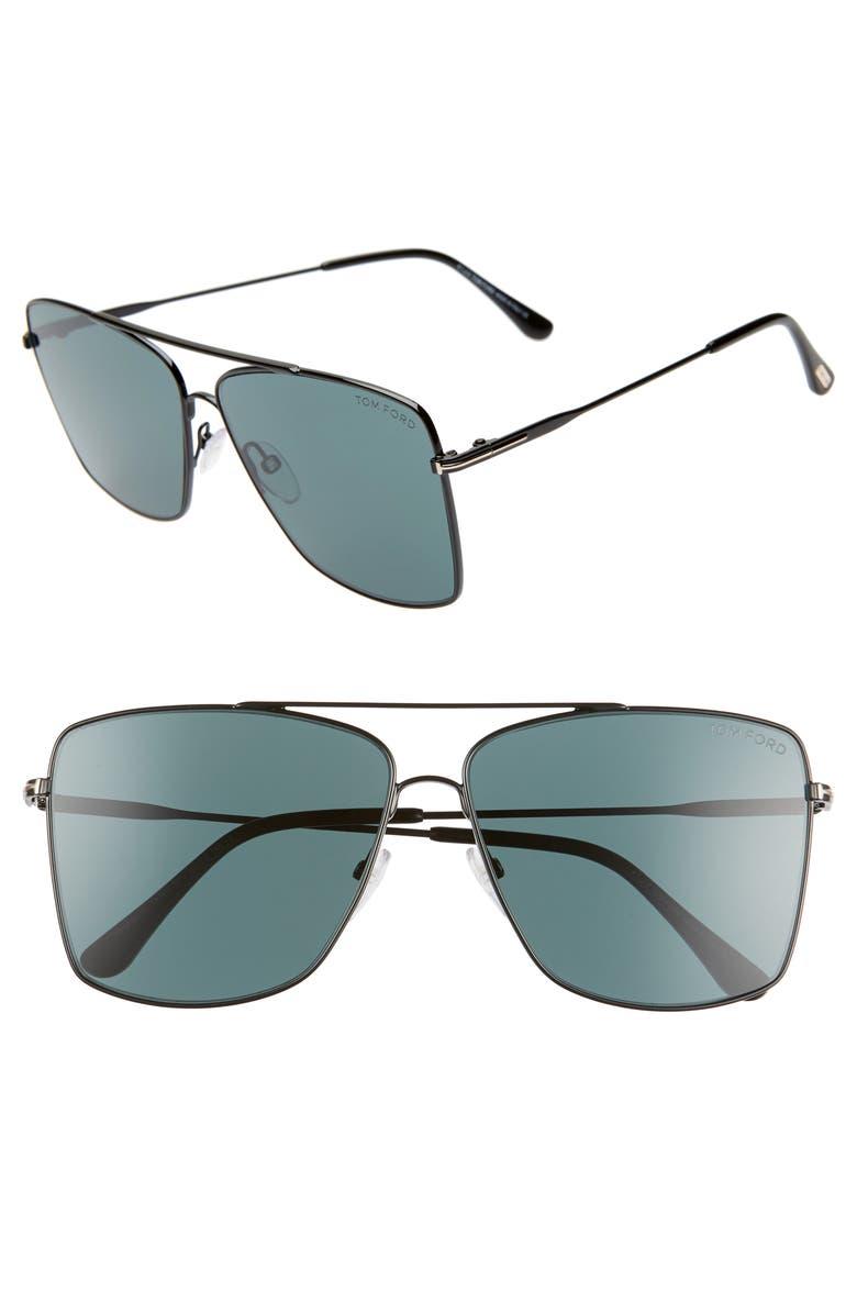 TOM FORD Magnus 60mm Aviator Sunglasses, Main, color, SHINY BLACK/ DARK TEAL