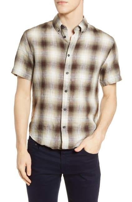 Image of Billy Reid Kirby Plaid Short Sleeve Slim Fit Linen Shirt