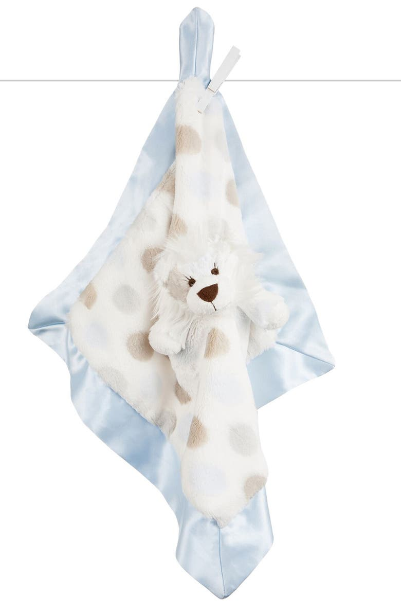 LITTLE GIRAFFE Luxe Dot Lion Blanket, Main, color, BLUE