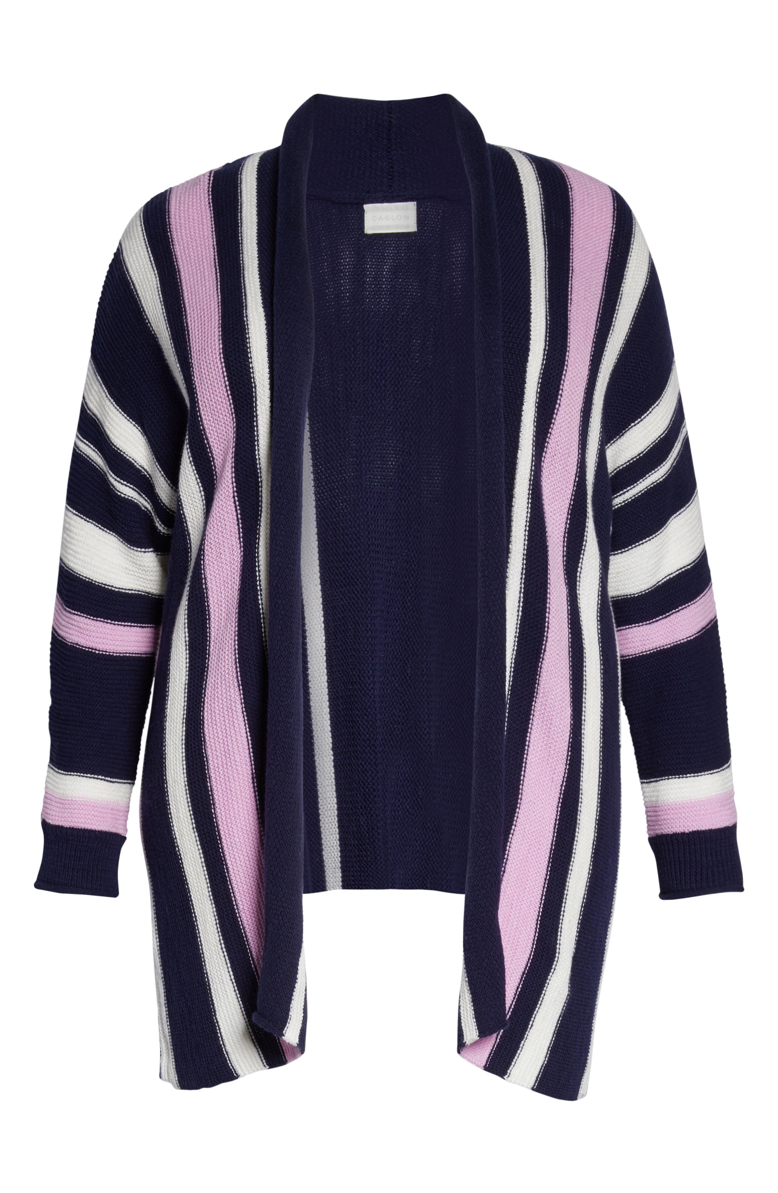 ,                             Stripe Open Front Cardigan,                             Alternate thumbnail 6, color,                             410