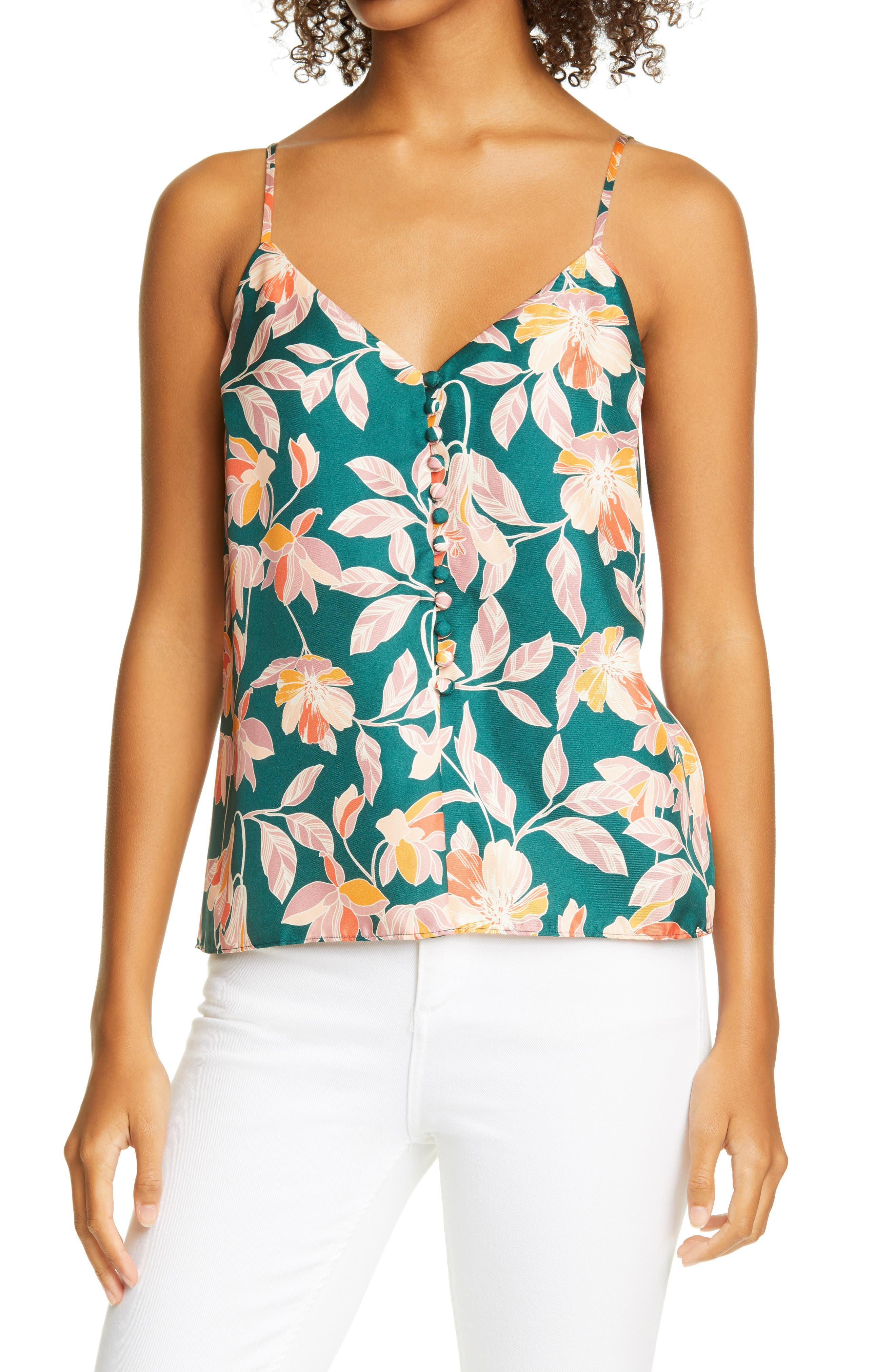 Lily Floral Print Button Front Silk Camisole