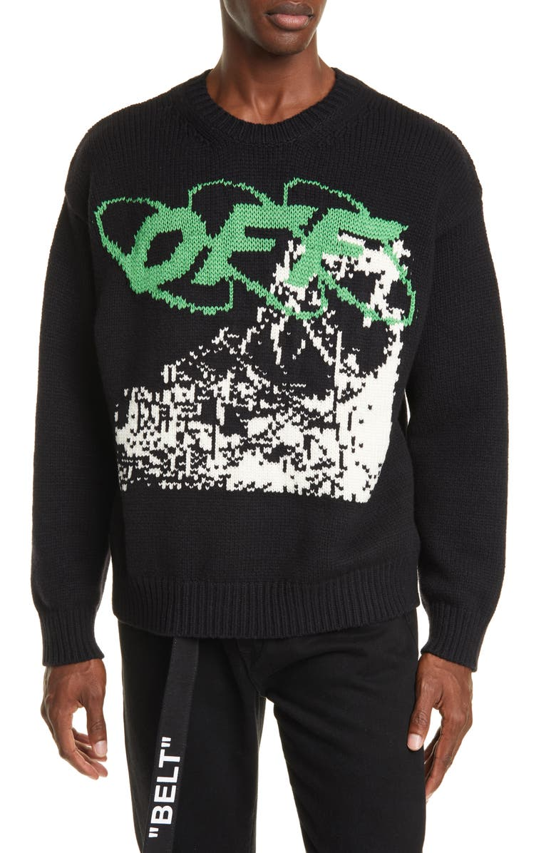 OFF-WHITE Ruined Factory Crewneck Sweater, Main, color, BLACK/ WHITE