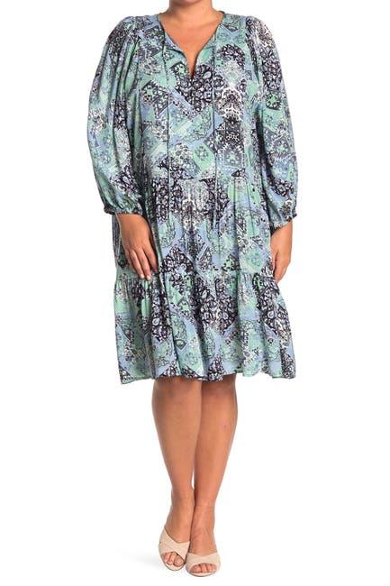 Image of Calvin Klein Challis Peasant Dress