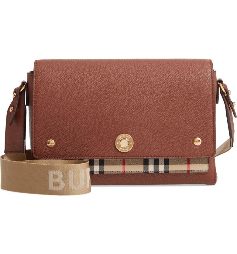 BURBERRY Medium Note Check & Leather Crossbody Bag, Main, color, TAN