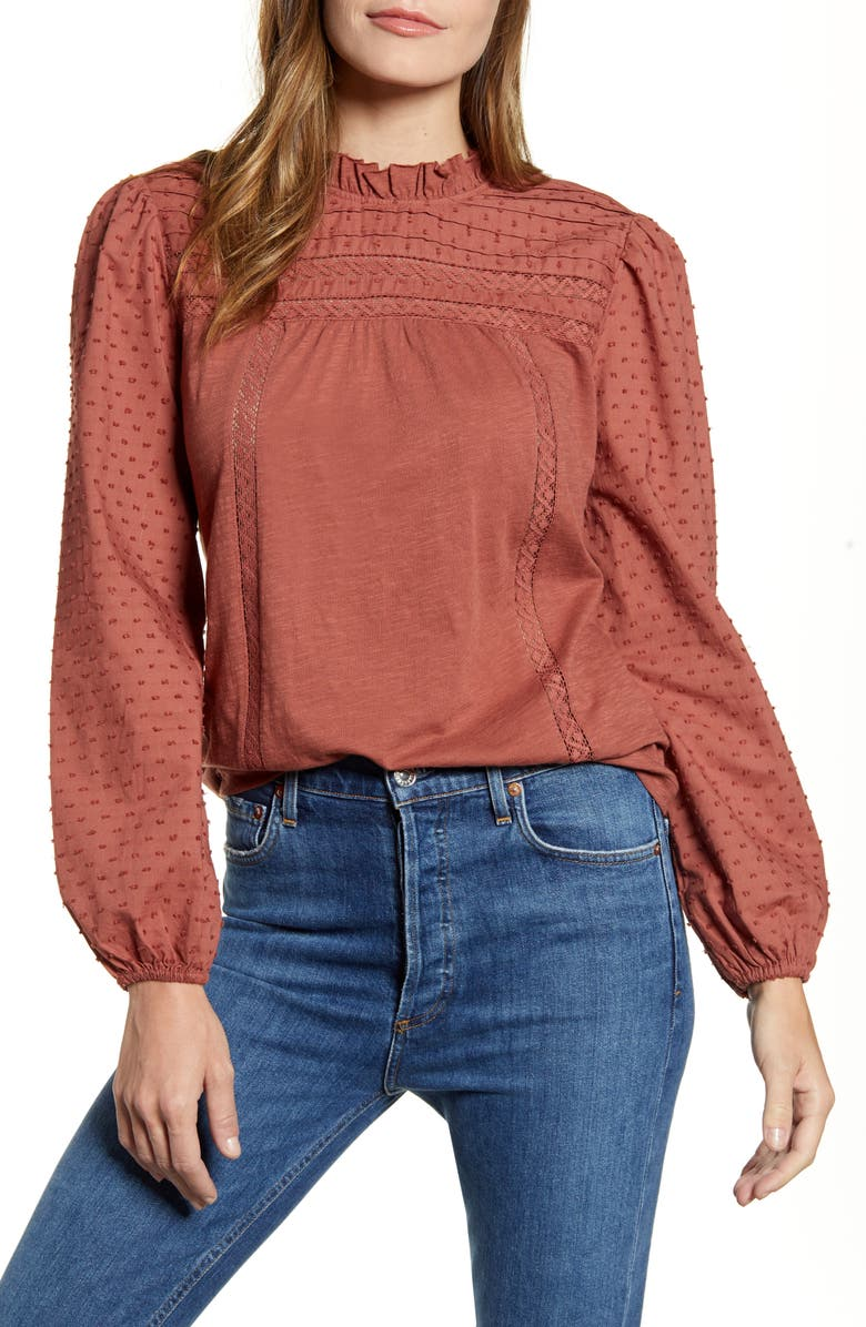 CASLON<SUP>®</SUP> Pintuck Lace Detail Long Sleeve Cotton Blouse, Main, color, BROWN MAHOGANY