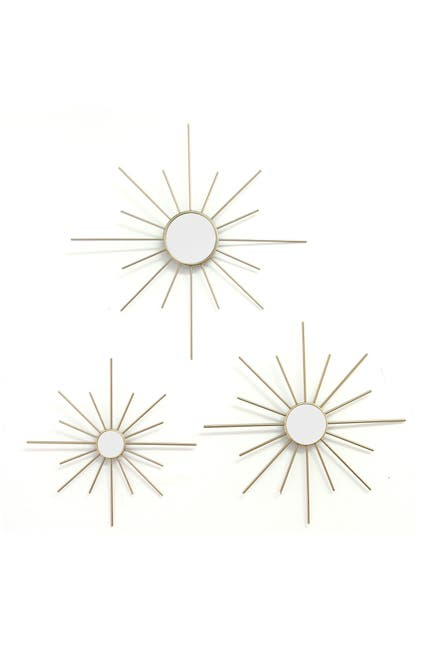 Image of Stratton Home Gold Mirror Burst Wall Decor 3-Piece Set