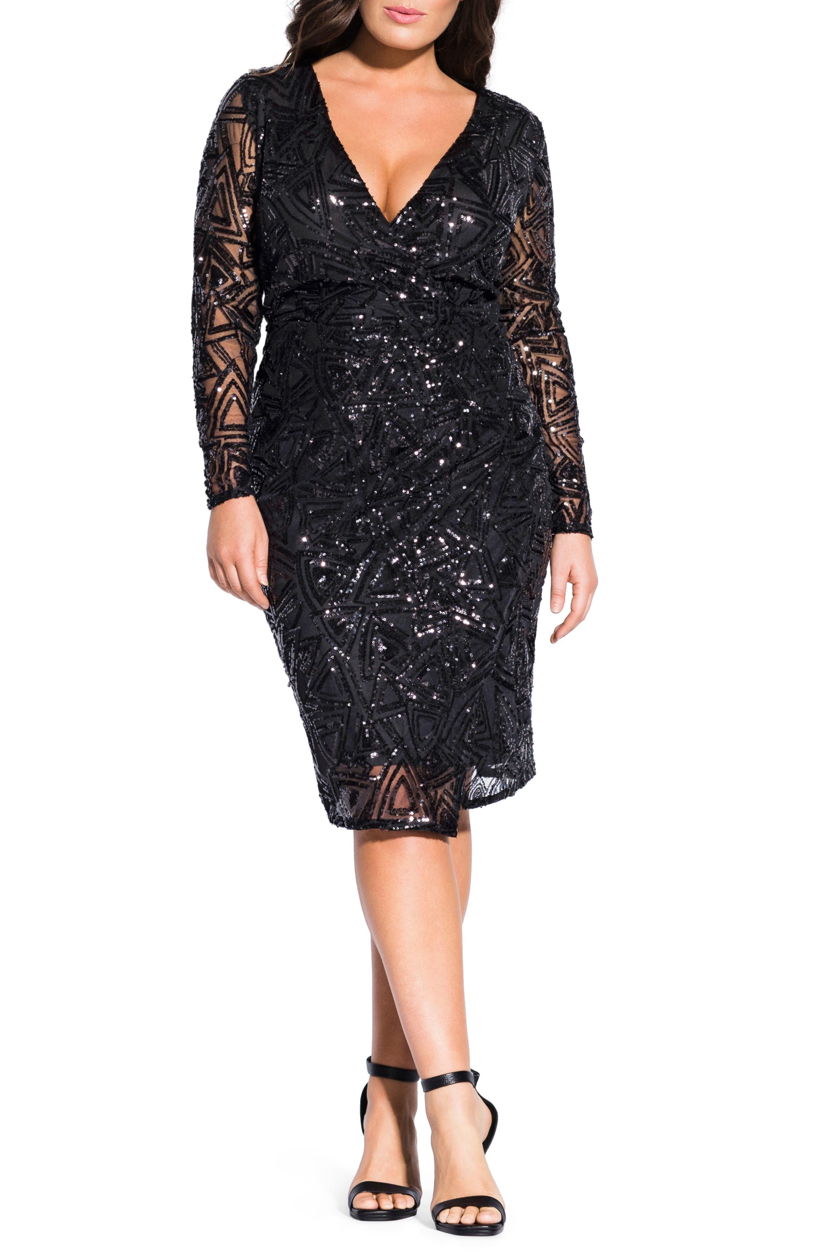Plus Size Chic City Razzle Dazzle Long Sleeve Cocktail Dress, Black