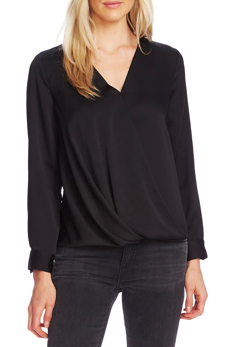 VINCE CAMUTO Faux Wrap Satin Blouse, Main, color, RICH BLACK