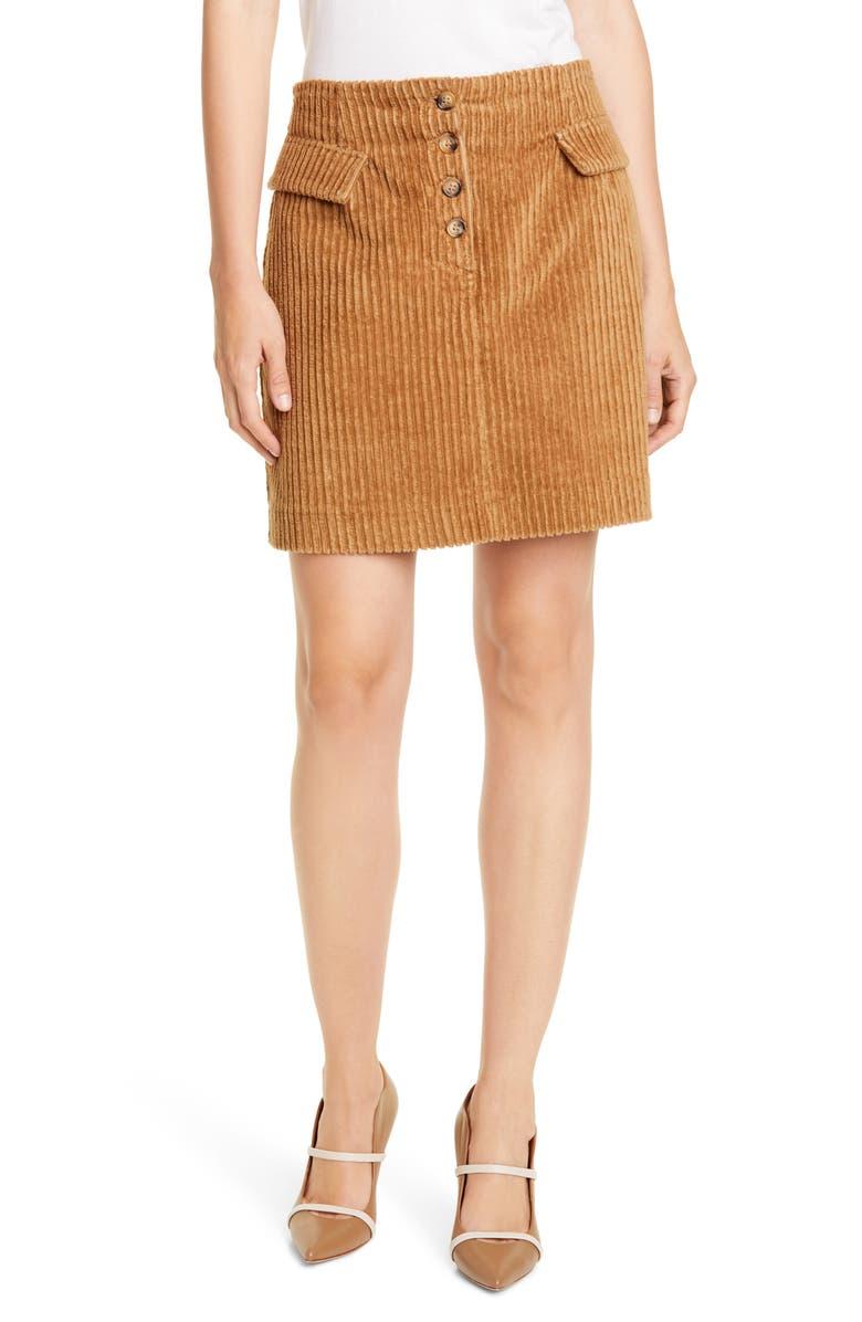 BAUM UND PFERDGARTEN Shani Corduroy Miniskirt, Main, color, LIGHT CAMEL