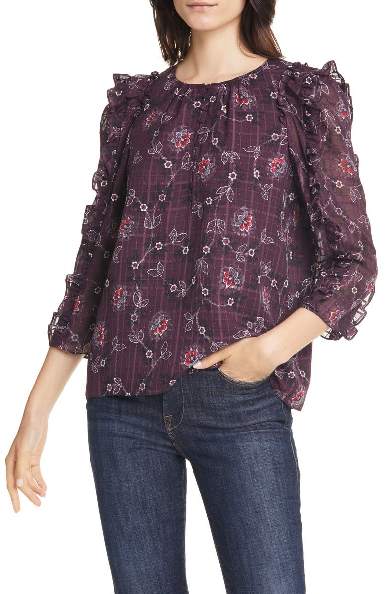 REBECCA TAYLOR Claudine Silk Top, Main, color, PLUM COMBO