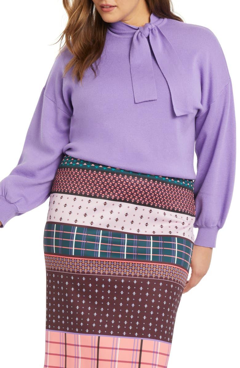 ELOQUII Tie Neck Sweater, Main, color, ALLIUM