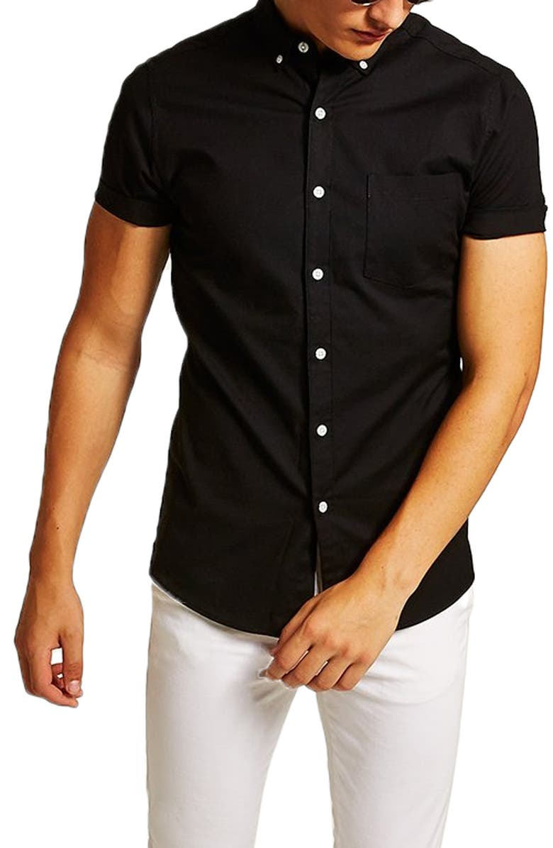 TOPMAN Muscle Fit Oxford Shirt, Main, color, 001