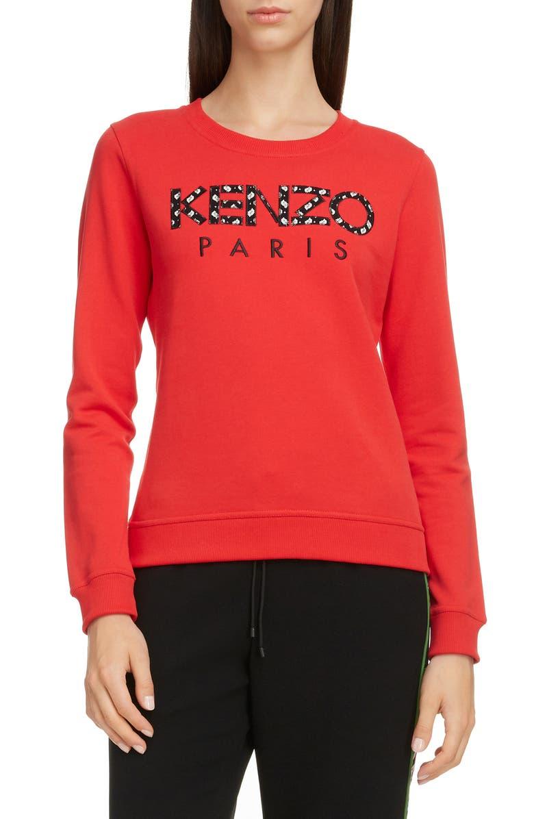 KENZO Logo Appliqué Cotton Sweatshirt, Main, color, MEDIUM RED