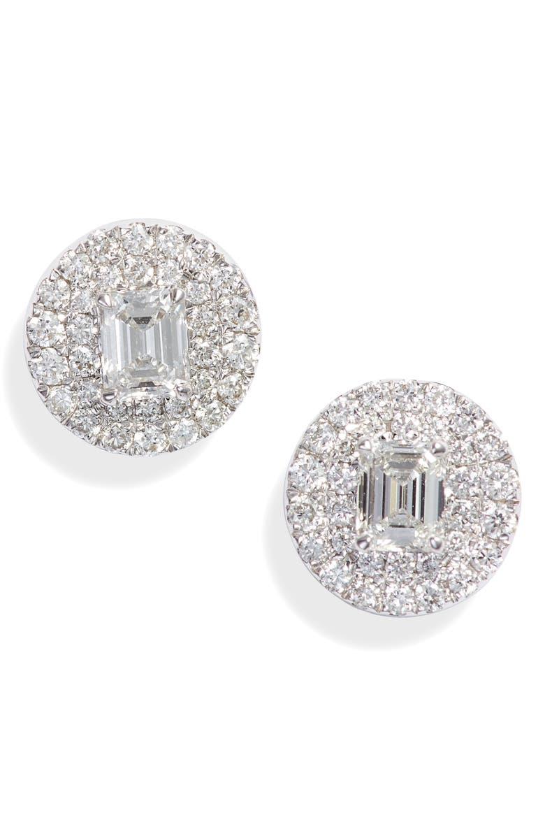 BONY LEVY Bardot Mixed Diamond Stud Earrings, Main, color, WHITE GOLD/ DIAMOND