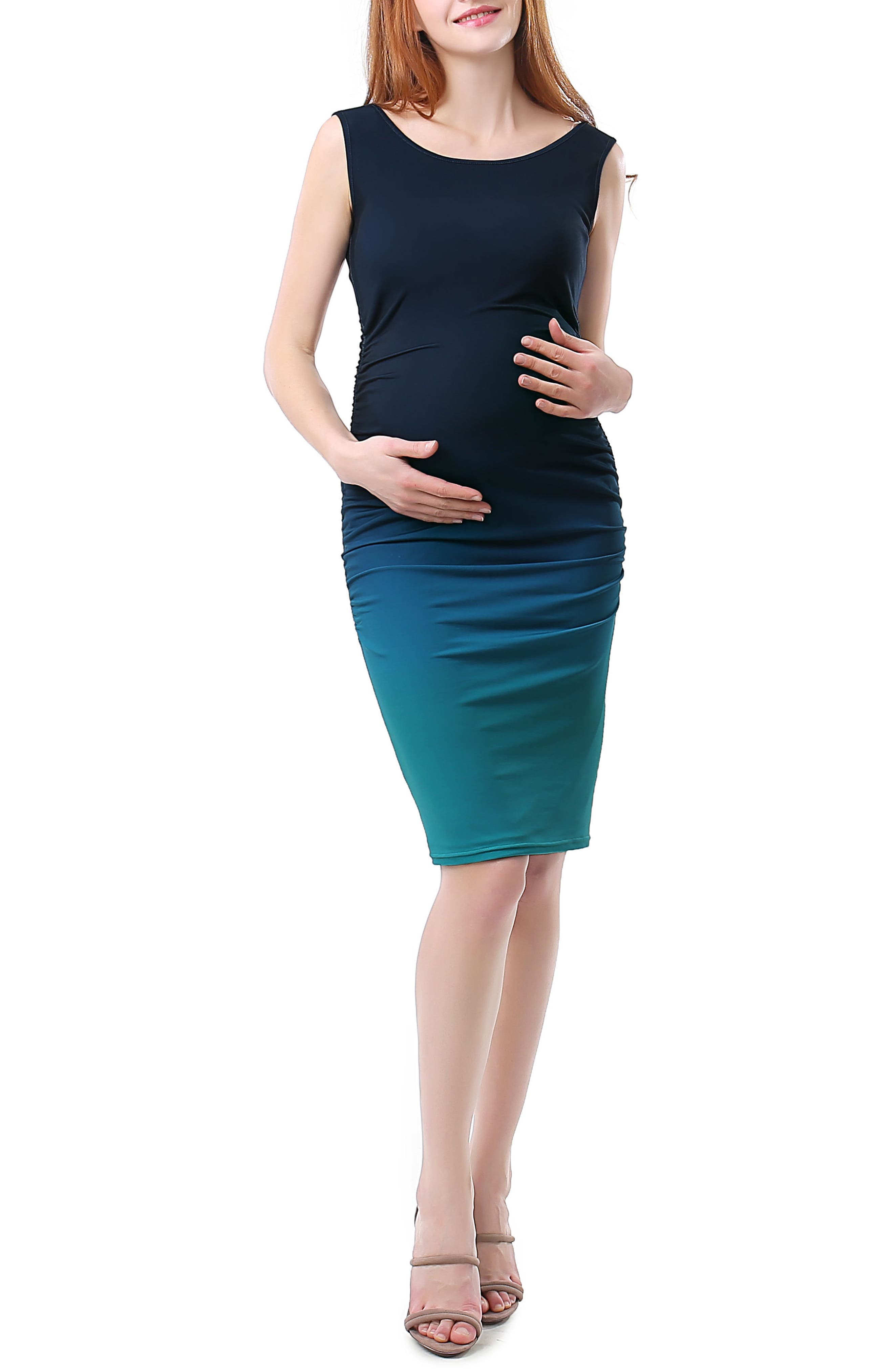 Kimi And Kai Sia Ruched Ombre Maternity Dress