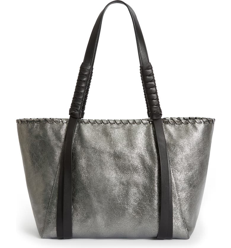 ALLSAINTS Miki East/West Leather Tote, Main, color, SOFT GOLD