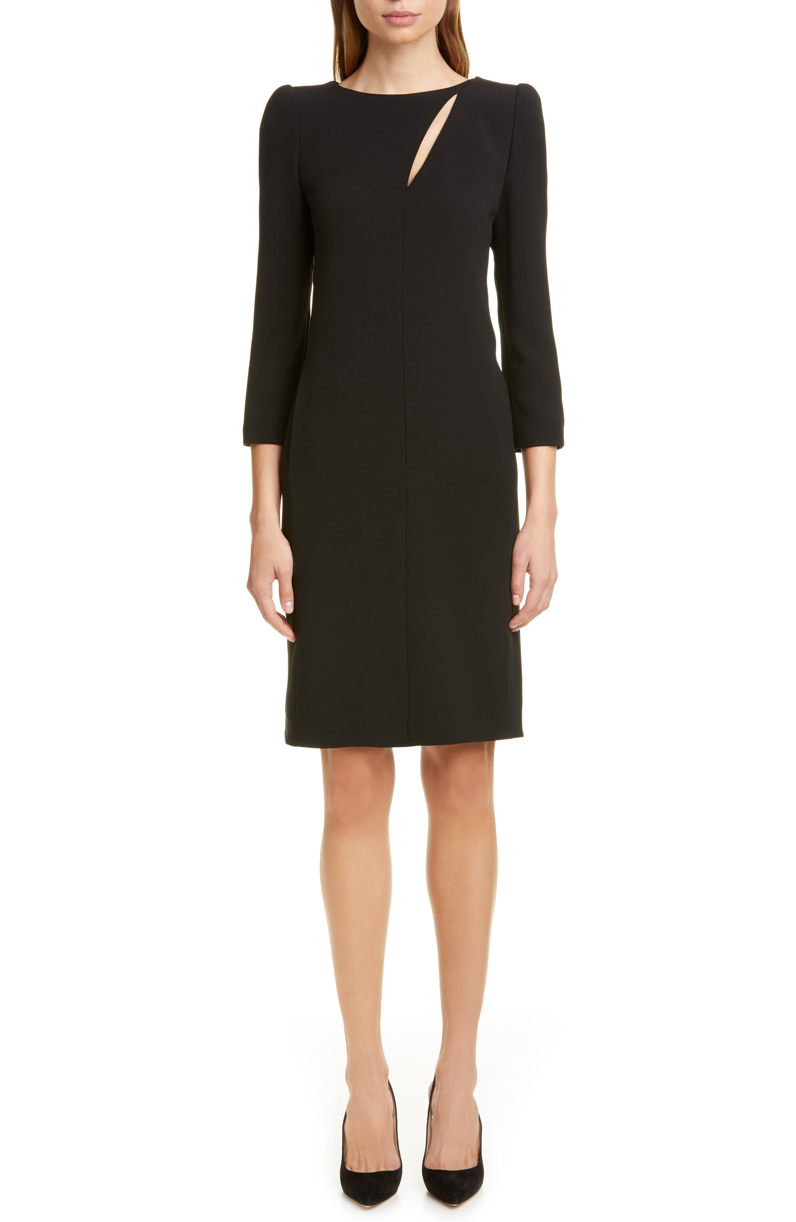 Emporio Armani Slit Detail Cady Dress, US / 42 IT - Black