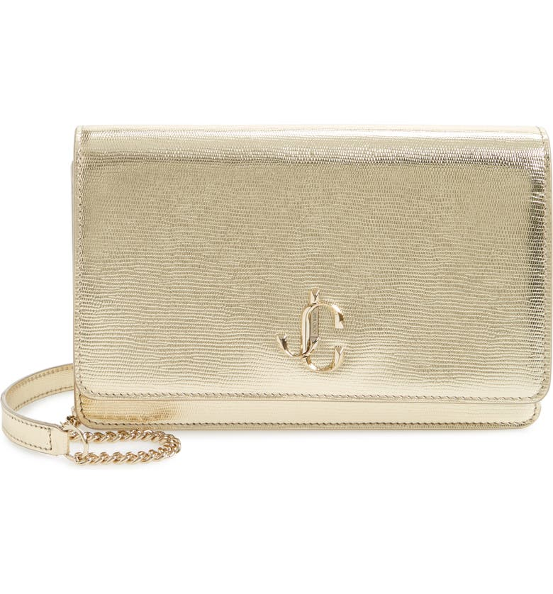 JIMMY CHOO Palace Lizard Embossed Metallic Leather Clutch, Main, color, LIGHT GOLD