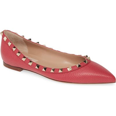 Valentino Garavani Rockstud Pointy Toe Flat, Pink