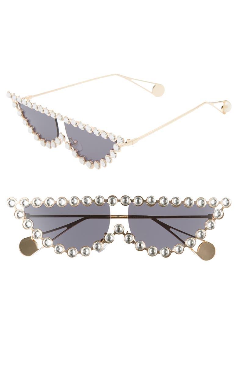 RAD + REFINED Glow Up Flat Top Cat Eye Sunglasses, Main, color, 001