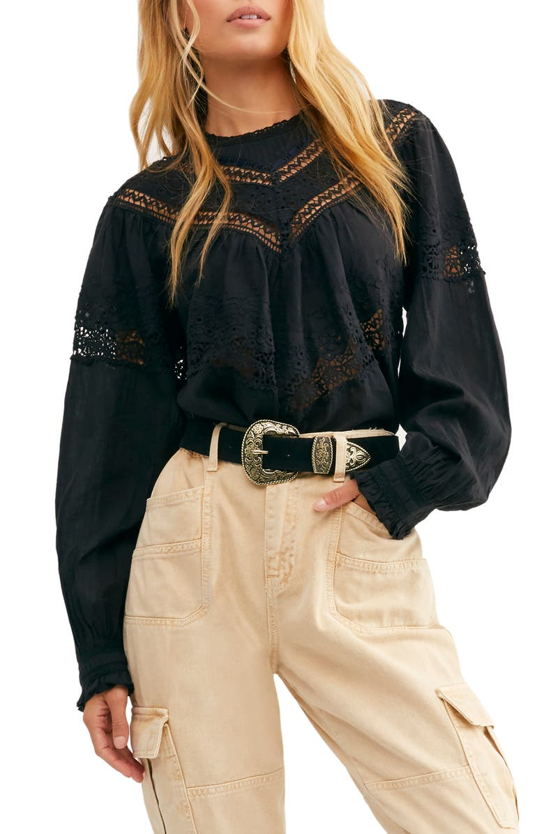 FREE PEOPLE Abigail Victorian Top, Main, color, BLACK