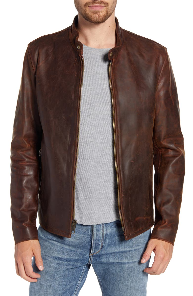 SCHOTT NYC Café Racer Lightweight Oiled Cowhide Leather Jacket, Main, color, 200
