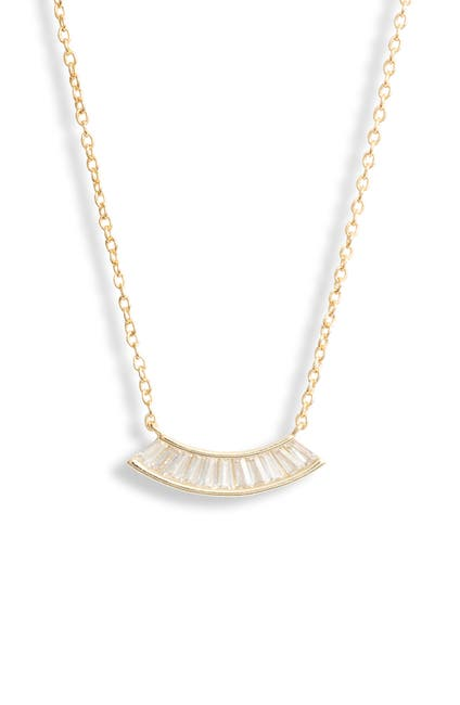 Image of Argento Vivo Sterling Silver Flair Baguette Frontal Necklace