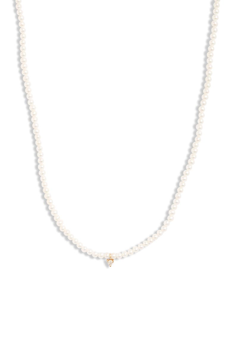 MIZUKI Diamond Pendant Pearl Necklace, Main, color, YELLOW GOLD/ PEARL/ DIAMOND