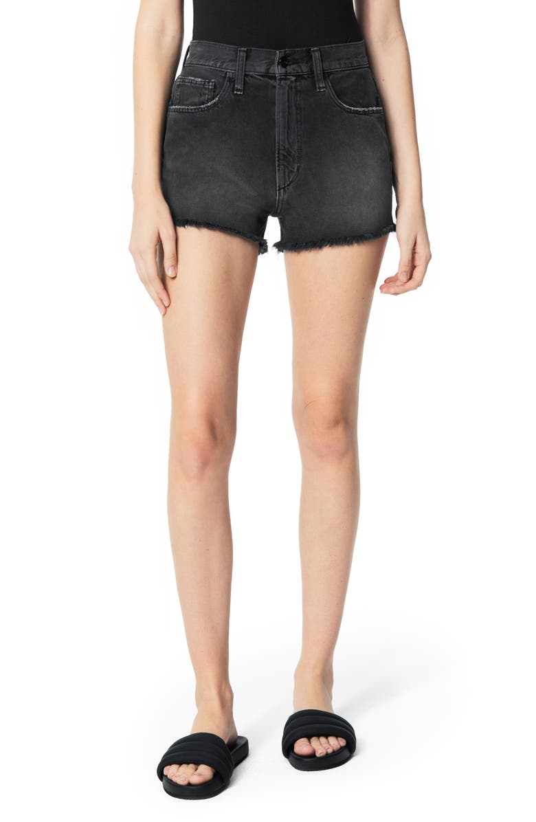 JOE'S High Waist Cutoff Denim Shorts, Main, color, 001