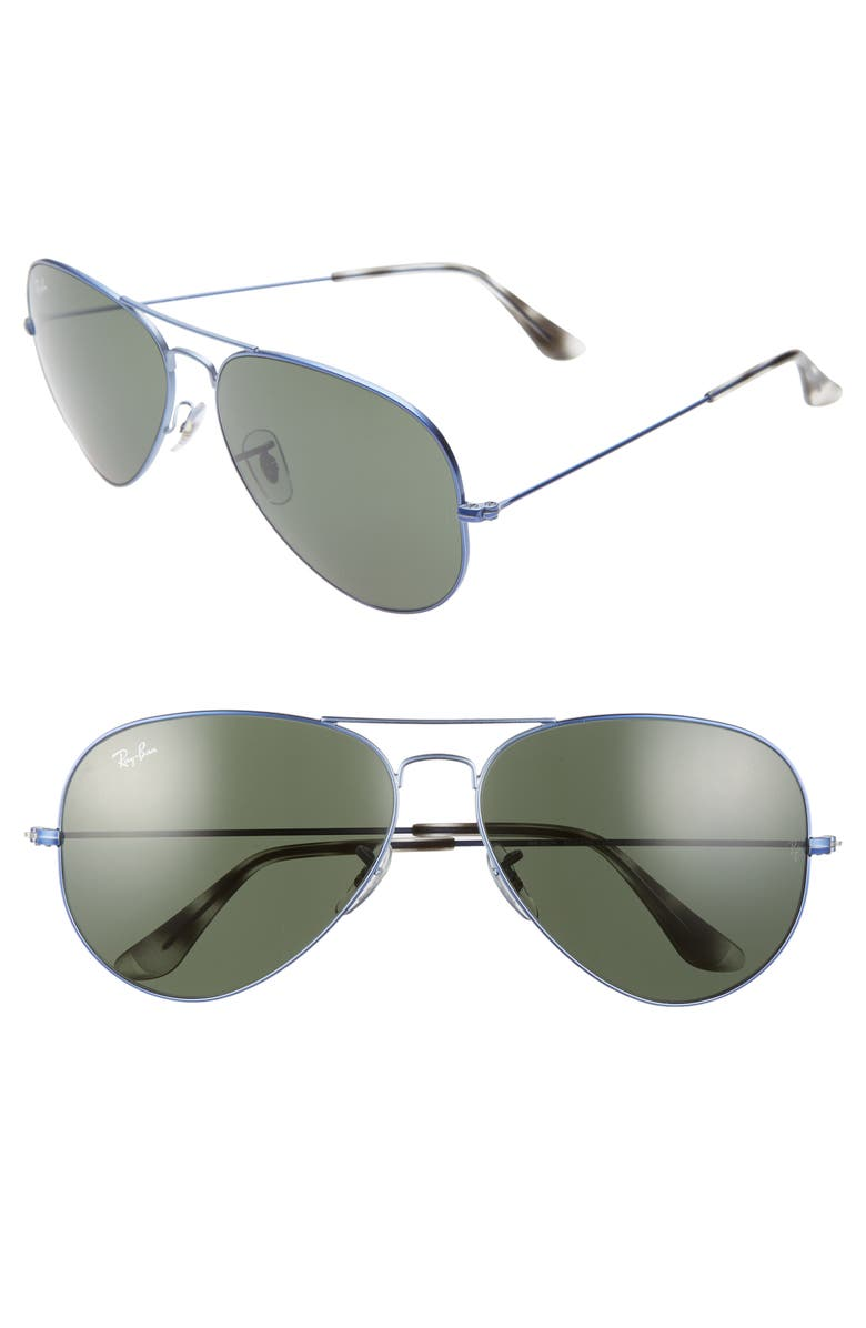RAY-BAN 62mm Aviator Sunglasses, Main, color, SAND TRANSPARENT BLUE