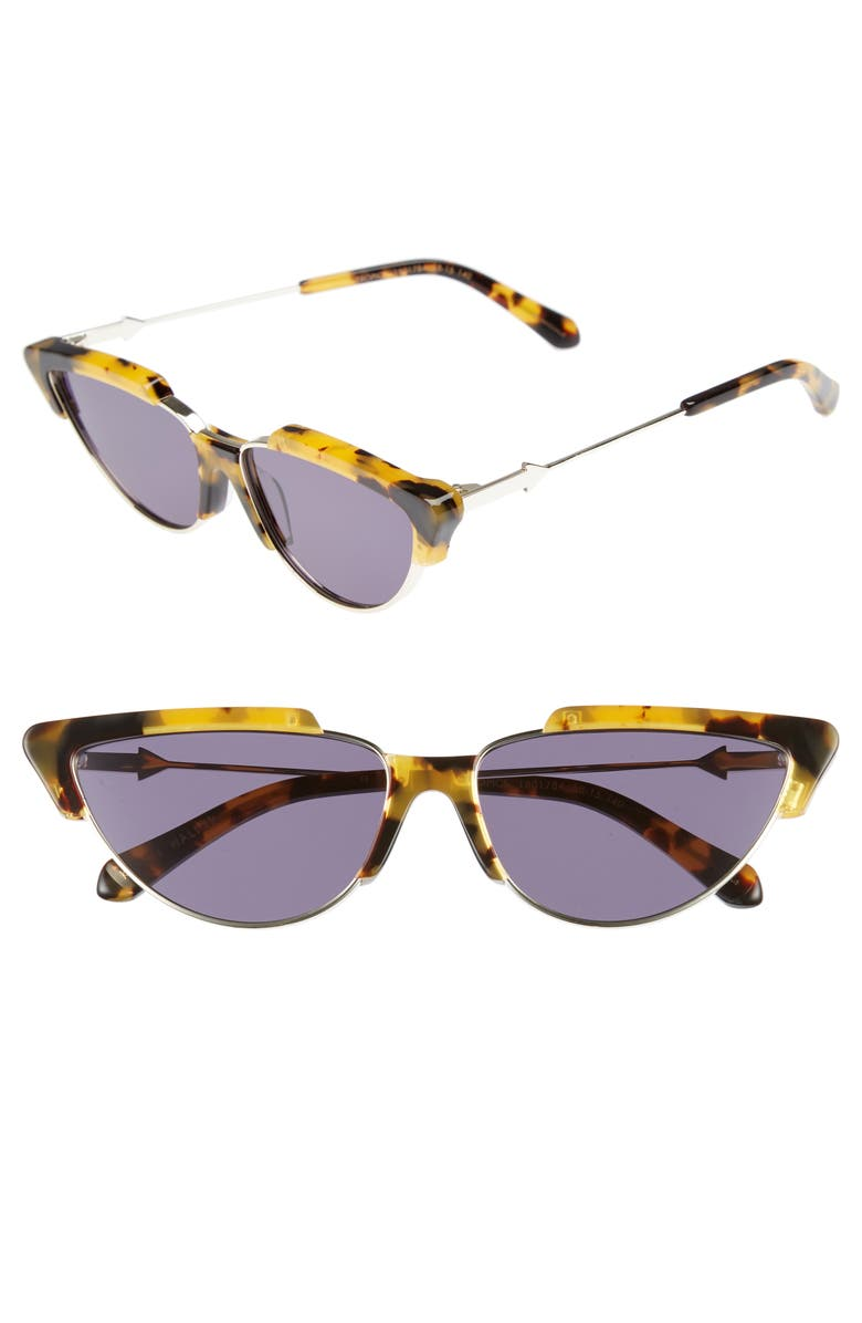KAREN WALKER Tropics 58mm Cat Eye Sunglasses, Main, color, CRAZY TORTOISE