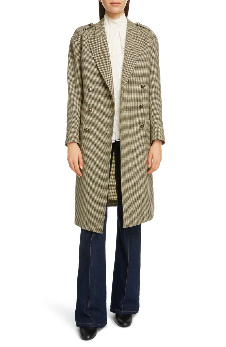 CHLOÉ Double Breasted Houndstooth Wool Coat, Main, color, BEIGE - GREEN