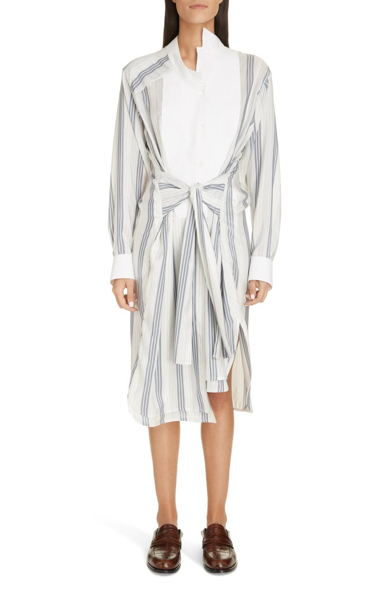LOEWE Stripe Tie Waist Silk Shirtdress, Main, color, NAVY/ WHITE