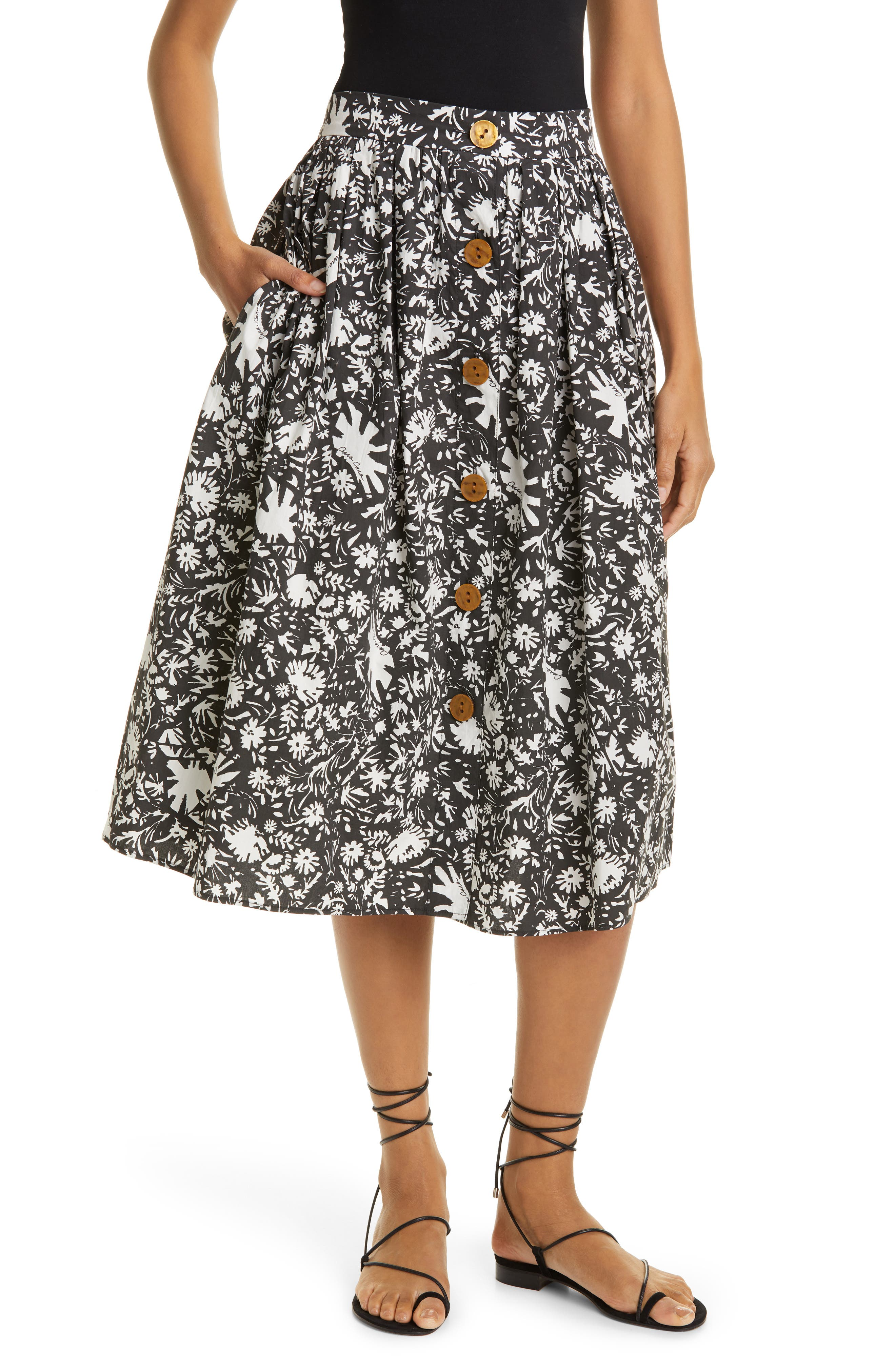Marget Button Front Cotton Skirt