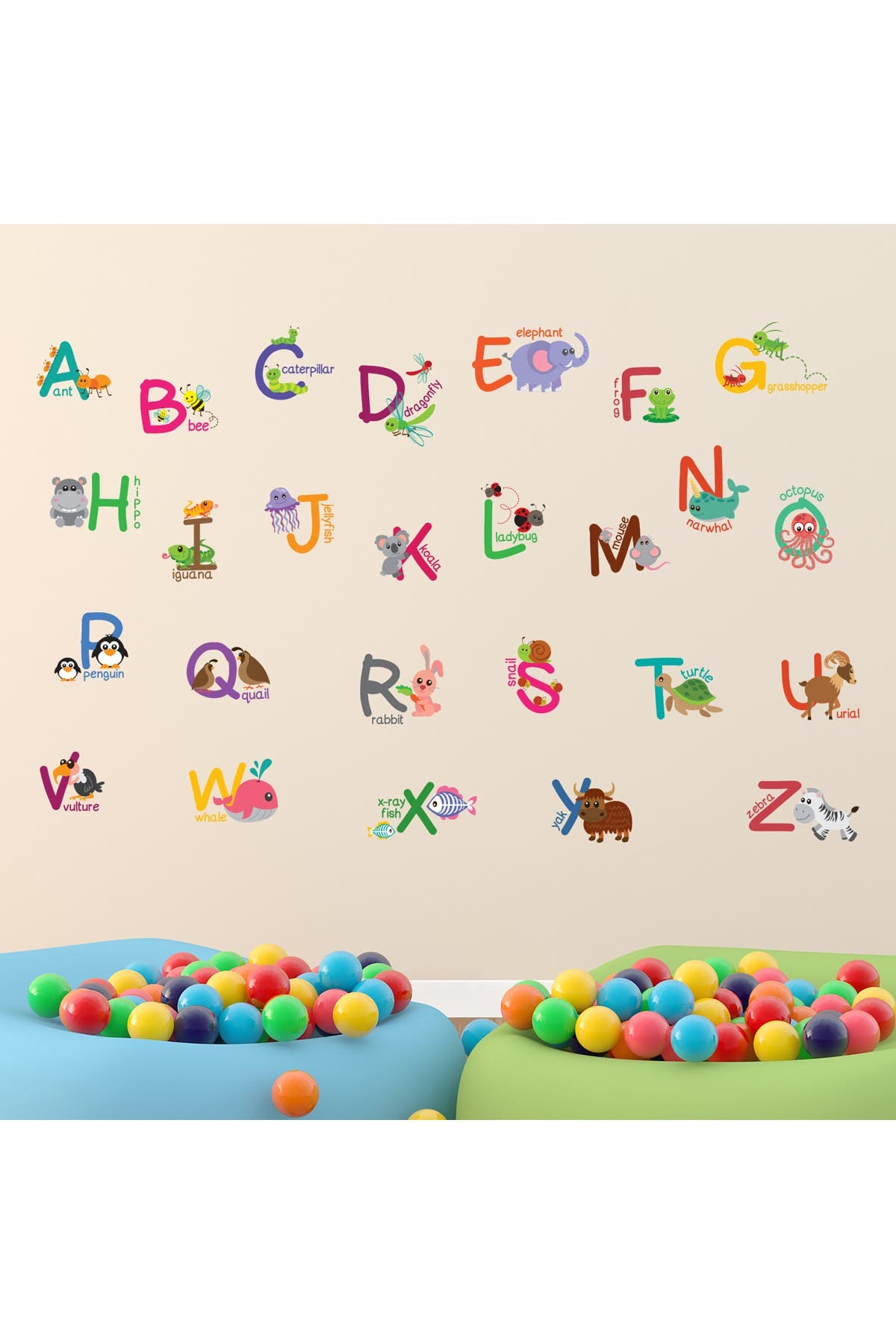 Image of WalPlus Learning Letters with Animals Kids Art