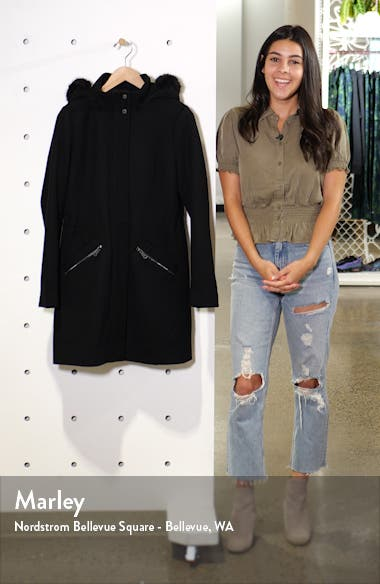 Wool Blend Twill Hooded Coat with Faux Fur Trim, sales video thumbnail