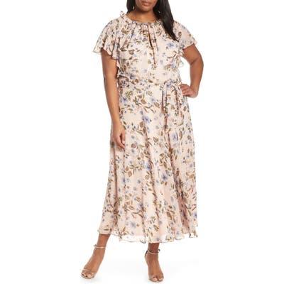 Plus Size Tahari Floral Print Swiss Dot Maxi Dress, Pink