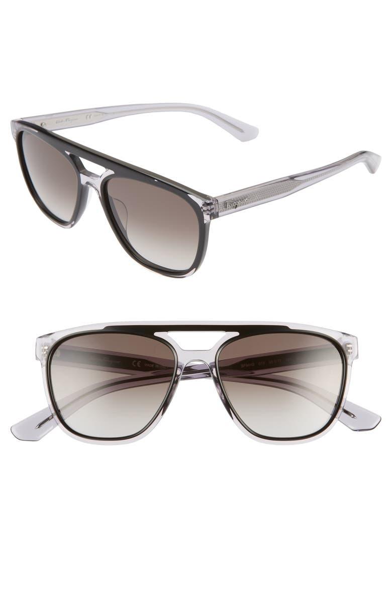 SALVATORE FERRAGAMO 55mm Navigator Sunglasses, Main, color, BLACK GREY
