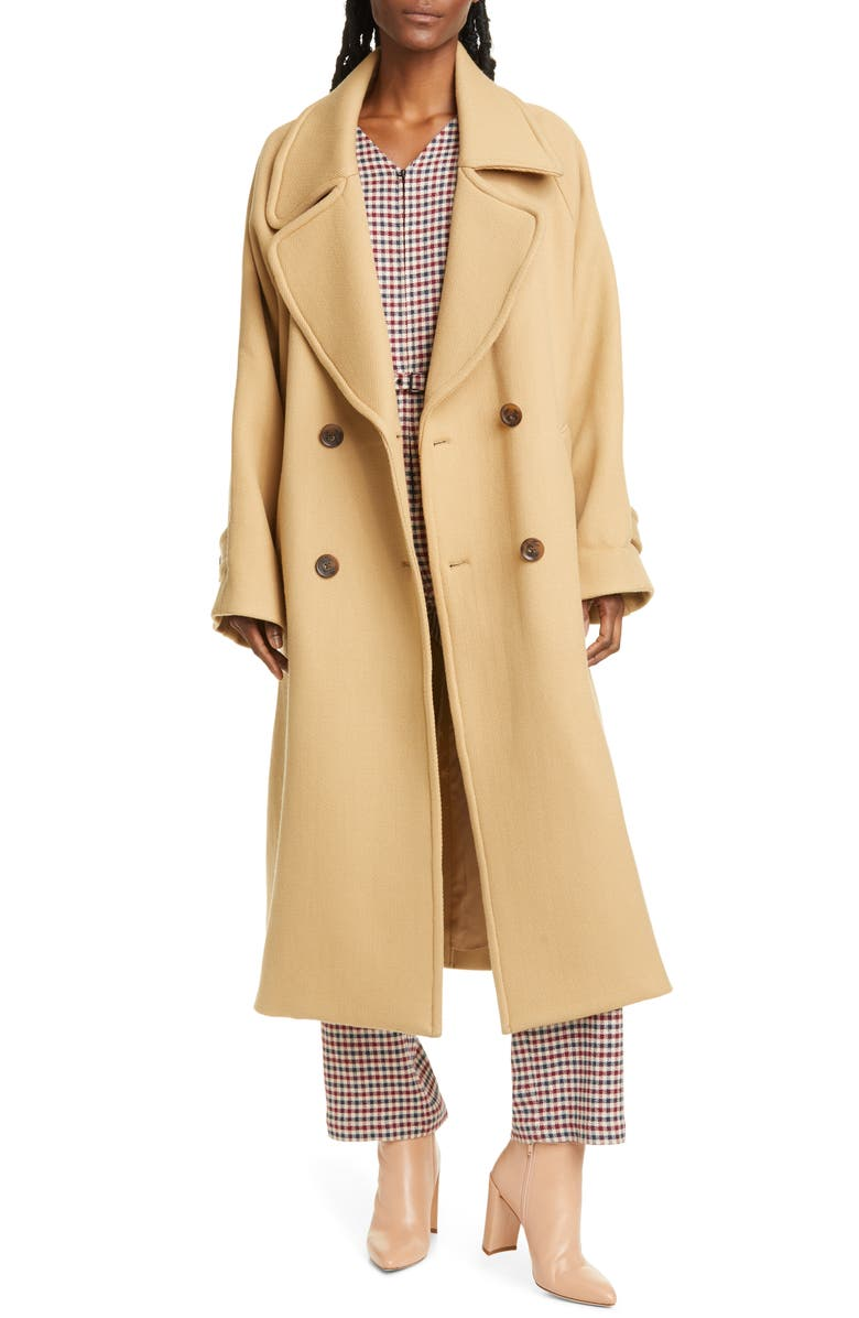 SEA Amber Double Breasted Wool Coat, Main, color, CAMEL