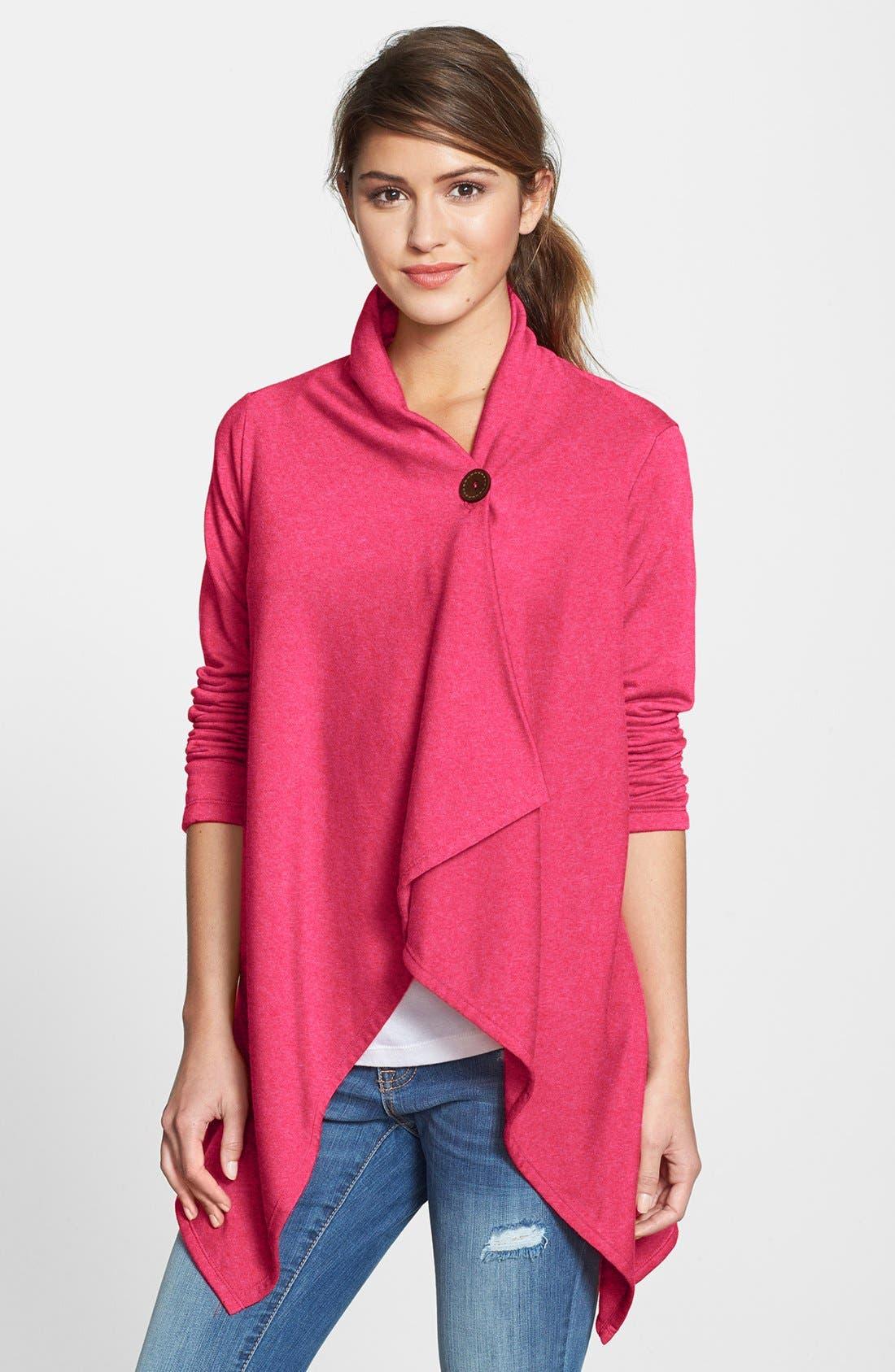 ,                             One-Button Fleece Wrap Cardigan,                             Main thumbnail 189, color,                             653