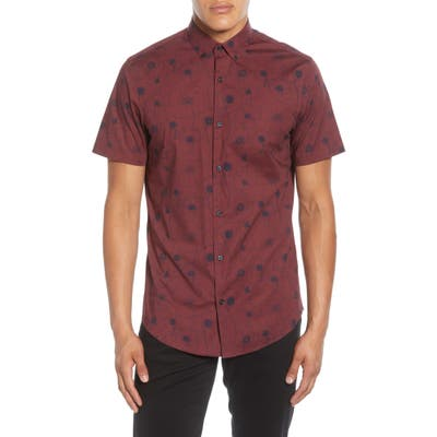 Calibrate Slim Fit Poppy Print Short Sleeve Button-Down Sport Shirt